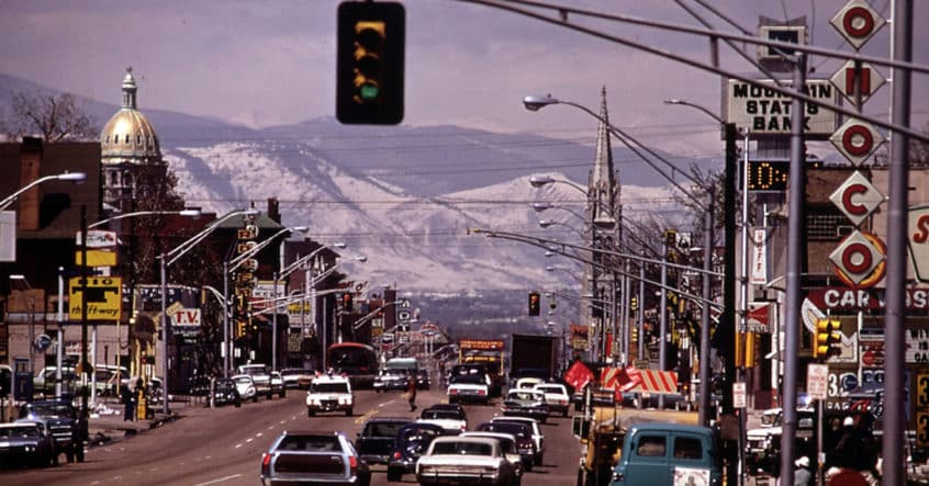 Denver's iconic Colfax looking toward the Capitol in 1972