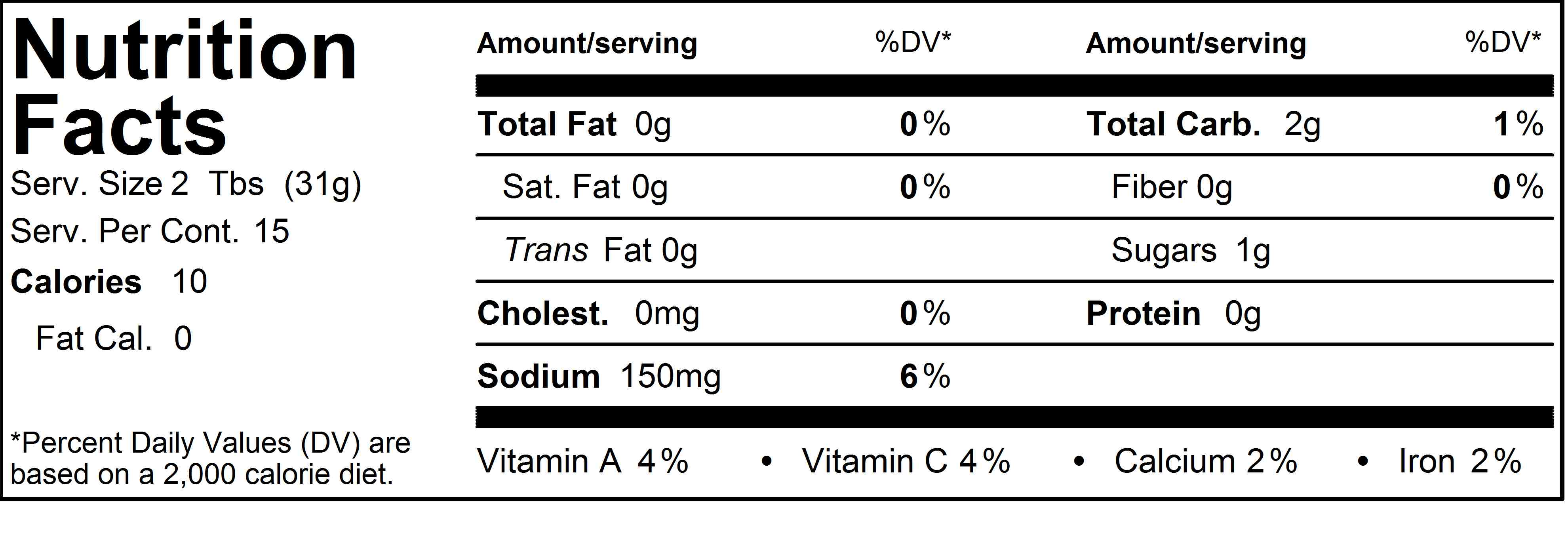 Lil' Hotties Street Salsa Nutrition Label